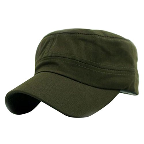 (Creazy Classic Plain Vintage Army Military Cadet Style Cotton Cap Hat Adjustable (Army Green))