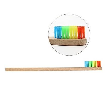 Cepillo de dientes de bambú colorido arcoíris, cepillo de dientes artesanal con cerdas de cuidado