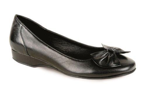 Saphir Arbeit Damen klein Damen 8 Schule Schwarz 3 Smart einfarbig Absatz Schleife Schuhe Echtleder x1rx0