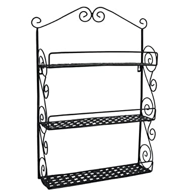 24 Inch Tall Classic Elegant Large Black Metal Wall Mounted Shelves Kitchen Spice Rack Bathroom Accessory Storage Multi Purpose Organizer
