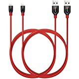 Anker [2-Pack] PowerLine+ Lightning Cable (6ft) Durable and Fast Charging Cable [Aramid Fiber & Double Braided Nylon] for iPhone X/8/8 Plus/7/7 Plus/6/6 Plus/5s/iPad and More (Red)