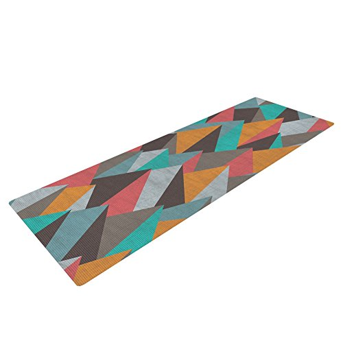 Kess InHouse Michelle Drew Mountain Peaks I Yoga Exercise Mat, Orange/Teal, 72 x 24-Inch by Kess InHouse