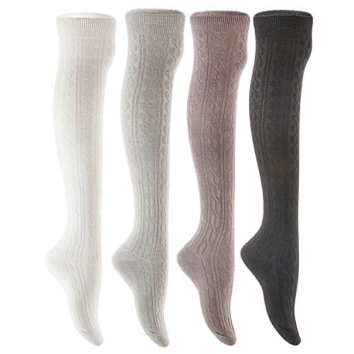 Lian LifeStyle Women's 4 Pairs Adorable Thigh High Cotton Socks LW1024 Size 6-9