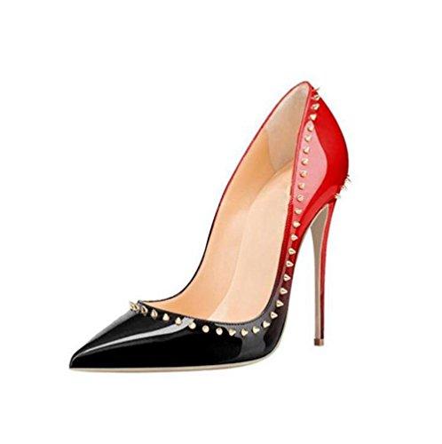 YWNC Rivetto alto grandi tacco dimensioni da antiscivolo 45 con tacco a scarpe tacco punta impermeabile col spillo red 40414243444546 a donna donna tacco qqxdrS