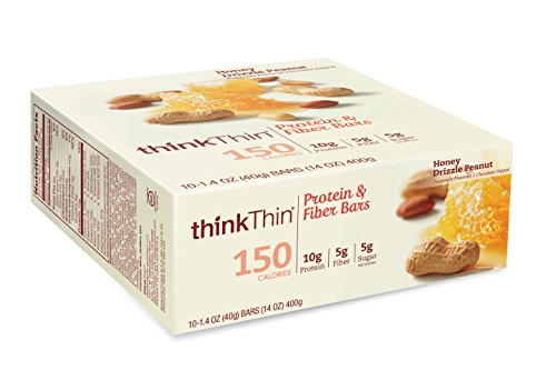thinkThin Protein and Fiber Bars, Honey Drizzle Peanut, 10 Count