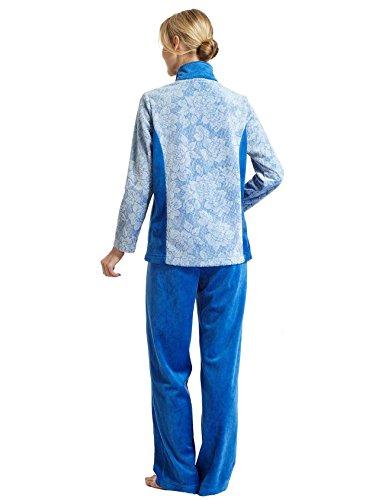 Casa Da Vestito Blau Pantaloni Design Flora Jaquard Cardigan Raikou Rilievo Composto Effetto In A Donna E q5Eqxf
