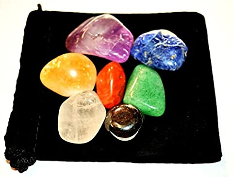 Zentron Crystal Collection: Tumbled Seven Stone Gemstone Chakra Set with Velvet Pouch Amethyst Carnelian Citrine Sodalite Green Aventurine Hematite Clear (Amethyst Stone Set)