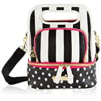 Betsey Johnson Multi Top Handle Insulated Snack Lunch Tote Bag - Stripe spot