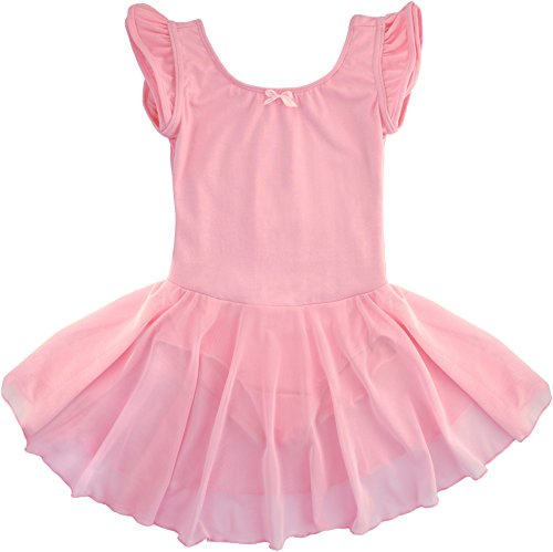 Dancina-Girls-Leotard-Dress-Classic-Flutter-Sleeve-Ballet-Cotton-and-Spandex