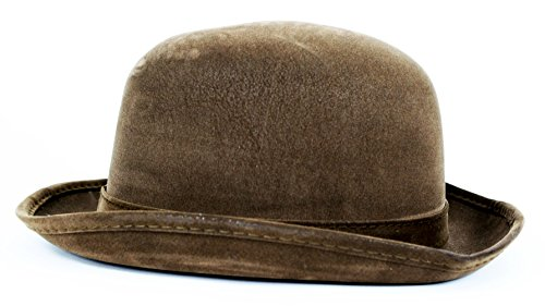 82c13a1afe Amazon.com  Largemouth Steampunk Faux Leather Derby Bowler Hat (Brown)   Clothing