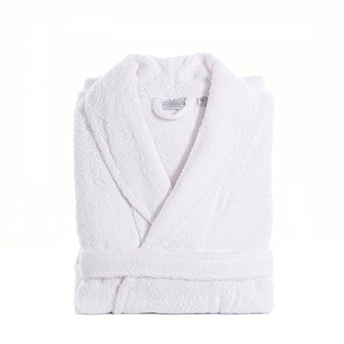 Linum Home Textiles Unisex Terry Cloth Bathrobe Premium 100% Authentic Turkish Cotton Hotel Collection Robe, Large/X-Large, White