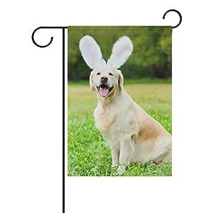 vantaso jardín bandera decorativa Happy Golden Retriever perro con orejas de conejo poliéster impresión a doble cara Fade prueba para patios al aire libre jardín 12X 18inch