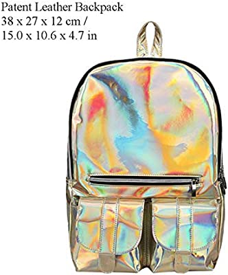 Amazon.com: Women Street Hip Pop Holographic Backpack Letters Laser Hologram PU Leather Girls Bag Travel School Backpacks Feminina: Computers & Accessories
