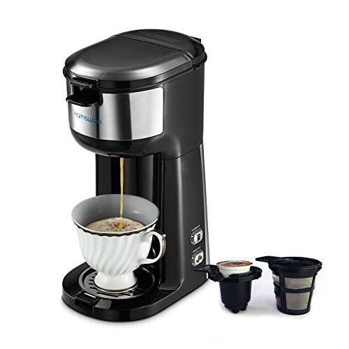 Single Serve Coffee Maker, HAMSWAM K Cup Coffee Maker, Ground Coffee Maker, 2-way Coffee maker, Mini Coffee Maker, Instant Coffee Maker, Drip Coffee Machine, Automatic Clean,Father's Day Gifts