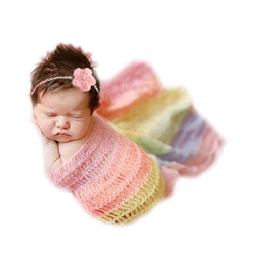 Vedory Newborn Baby Photography Shoot Props Outfits Headband Rainbow Tassel Blanket for Boy Girls Photo Props (Style six),0-3 Months