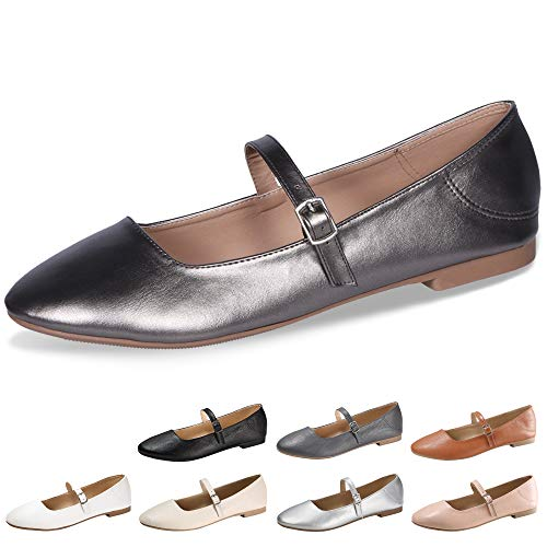 CINAK Flats Mary Jane Shoes Women's Casual Comfortable Walking Buckle Classic Ankle Strap Style Ballet Slip On Dark Silver
