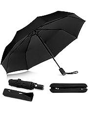 SKEY - Paraguas de bolsillo, con funda para sombrilla y funda de viaje, automático, revestimiento de teflón, resistente al viento, estable