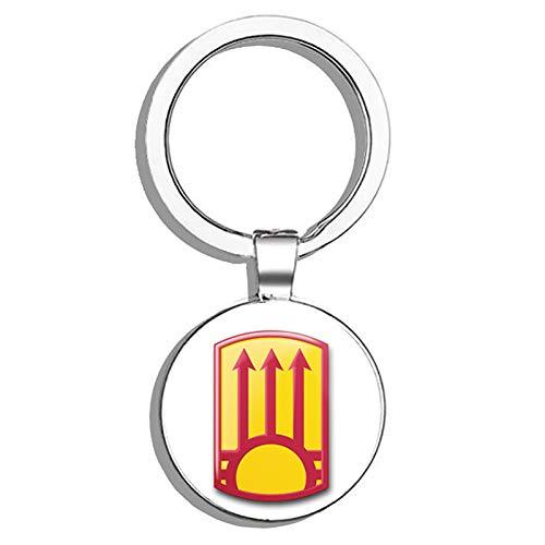 HJ Media US Army 111th Air Defense Artillery Brigade New Mexico Metal Round Metal Key Chain Keychain Ring