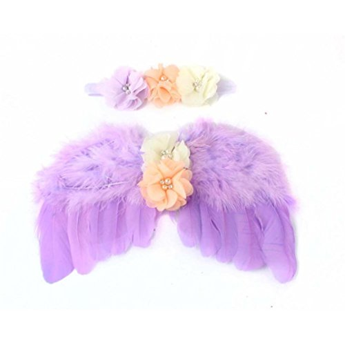 [Baby Angel Feather Butterfly Wings Photo Prop Girls Hair Accessories (Purple)] (Angel Fancy Dress)