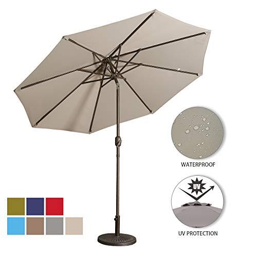 Aok Garden 9 Feet Outdoor Market Patio Umbrella with Push Button Tilt and Crank Lift Ventilation,8 Sturdy Ribs Non-Fading Sunshade,Grey (Crank Patio Umbrella)