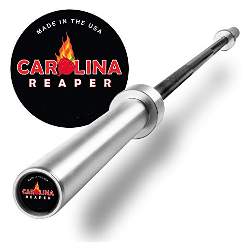XMark USA Carolina Reaper, Our Hottest Olympic Bar, 2000 lb. Wgt Capacity, 200,000 PSI Tensile Strength Barbell, Weight Lifting, Powerlifting Bar, Homegrown in The USA 7' Foot