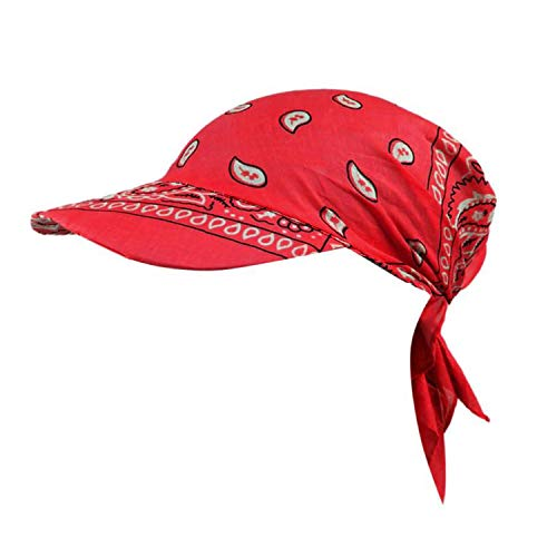 Elibone Women Retro Floral Cotton Towel Cap Brim Turban Baseball Hat Wrap Summer Sun Hats for Women Straw hat,Red
