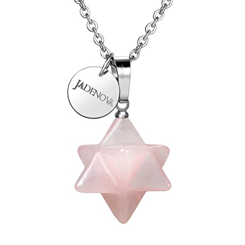 "JADENOVA 3D Merkaba Star Necklace Natural Rose Quartz Gemstone Pendant Necklace Chakra Reiki Energy Healing Crystal Jewelry 18"" Stainless Steel - Quartz Necklace Genuine Rose"