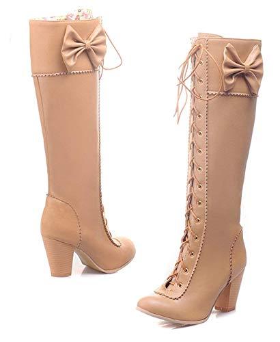 Bloc Longue Winter Bottes Ye Boots Haut Mollet Hiver Fourées Abricot Shoes Mi Rockabilly Chaude Talon Femme Noeud Chaussure For TfwHqzxPT
