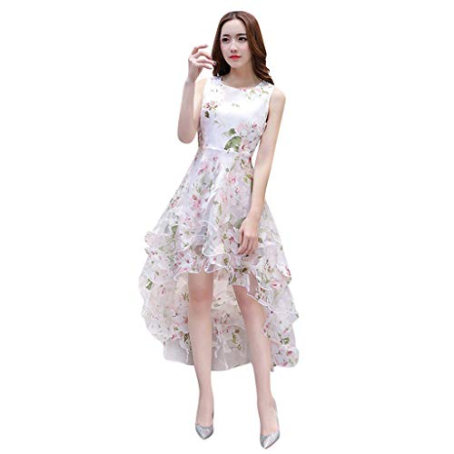 Organza Strapless Drop - Casual Summer Dress for Women,YEZIJIN Women's Summer Organza Floral Print Wedding Party Ball Prom Gown Cocktail Dress Pink