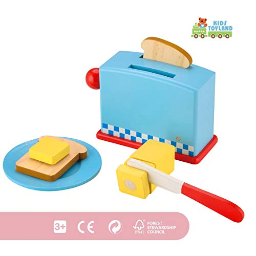 KIDS TOYLAND Play Food Set for Kids Wood Pop Up Toaster-Pretend Play Kitchen Sets with Accessories (9 pcs) (Pretend Toaster Play)