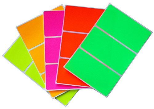 Moving sticker color code labels in 5 assorted neon colors 4 x 2 labels (102 mm x 51 mm) - 30 Pack by Royal Green Storage Color Code