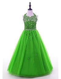HSDJ Little Girls Halter Beading Long Ball Gowns Girls Pageant Dresses