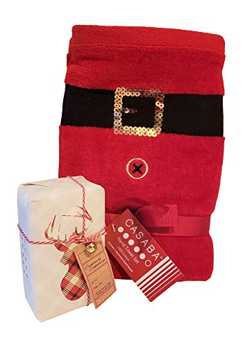 (The Spoiled Office 4 Piece Gift Set with 2 Holiday Plush Hand Towels, Scented Soap and Reusable Gift Box (Santa Claus))