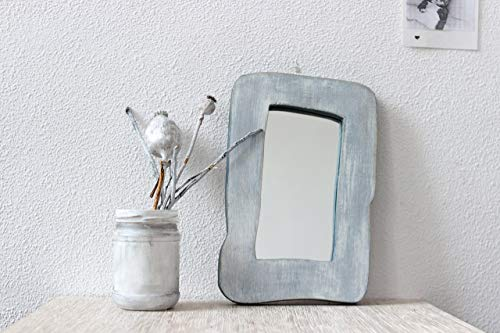 Vintage Wood Chunky (Small Rustic Mirror 9x6 Inch Wood Framed Mirrors Decorative Reclaimed Woodwork For Your Home Decor Living Room Wooden Border in Distressed Gray White Finish Housewarming Grandma Mothers Day Gift)