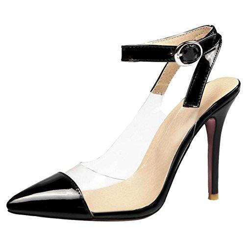 Tacco Moda Donna nero Sandali Alto TAOFFEN Trasparente EqAP0nRfx