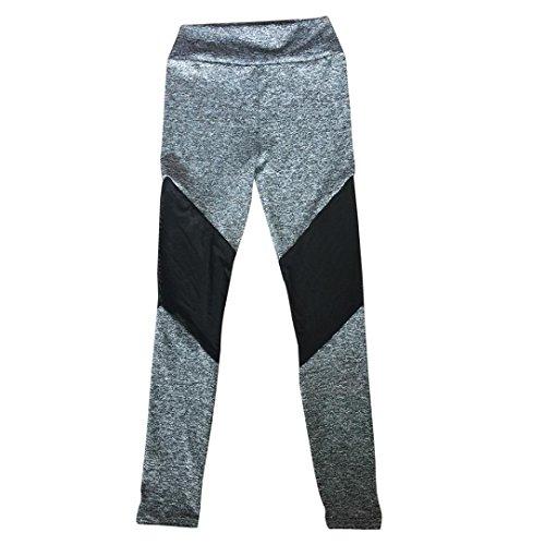 Gris Sanfashion Taille Pantalon Chic Legging Femme Skinny Haute Simple Yoga Running Fitness Gym Sport qBqx6Pwt7