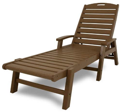 Trex Outdoor Furniture Yacht Club Stackable Chaise Lounger with Arms,Tree House (Polywood Club)
