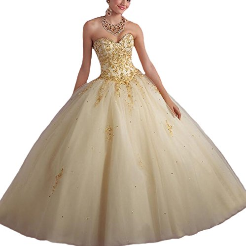 Vnaix Bridals Princess Lace with Tulle Sweet 16 Prom Quinceanera Dress(4,Gold) (Quinceanera Sweet)