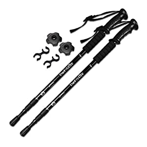 TheFitLife Nordic Walking mountaineering Anti Shock Hiking Trekking Walking Trail Poles, 2-pack, Folding Collapsible Alpenstocks, ultralight for travel mountaineering (Black)