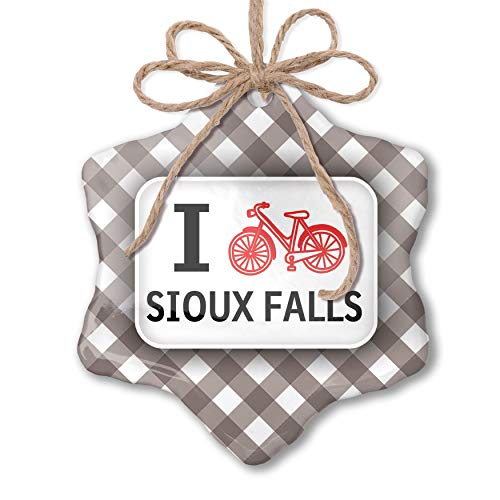 NEONBLOND Christmas Ornament I Love Cycling City Sioux Falls Grey White Black Plaid ()