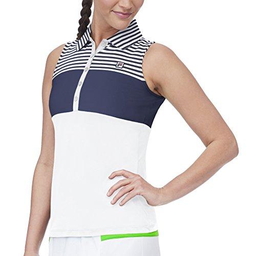 Fila Women's Heritage Sleeveless Polo Shirt, White, Navy, White Stripe, Navy, XS