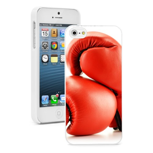 For Apple iPhone SE Hard Back Case Cover Red Boxing Gloves (White)