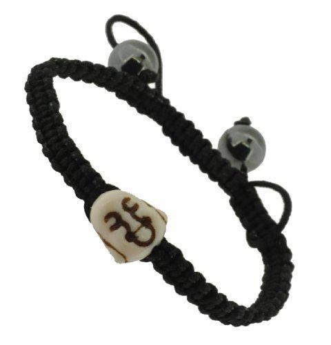 Dyed Howlite White Happy Laughing Buddha Macrame Bracelet