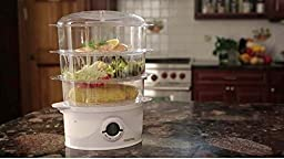 Gourmia GFS300 SteamTower300 Electronic Digital 3 Tier Vegetable and Food Steamer, 9.5 quart, BPA Free - Clear - Free Recipe Book Included