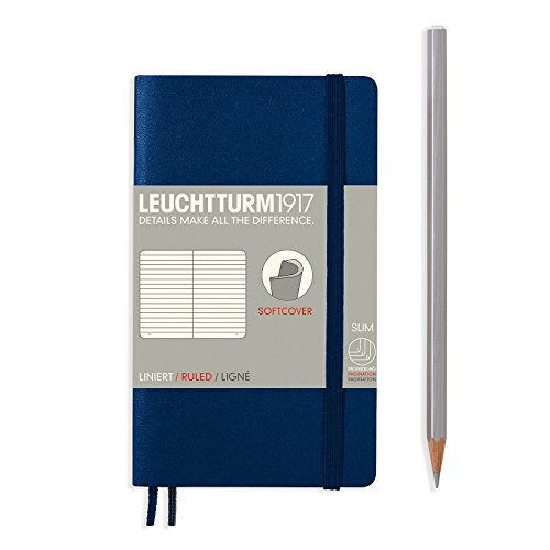 LEUCHTTURM1917 Soft Cover Small (A6) Slim Pocket Notebook, Marine Navy, Ruled / Lined