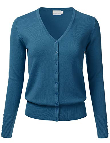 - FLORIA Women's Button Down V-Neck Long Sleeve Soft Knit Cardigan Sweater Teal M