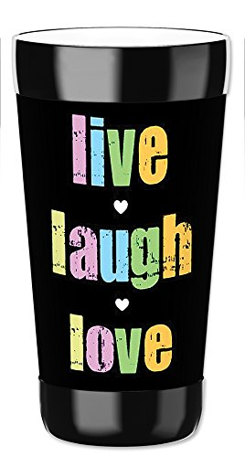 Mugzie 16 Ounce Travel Mug / Drink Cup with Removable Insulated Wetsuit Cover - Live, Laugh, Love