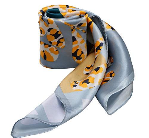 "21"" X 21"" Small Square 100% Silk Scarf Neckerchief Soft Smooth (Leopard Bouquet Silver Gray Yellow)"