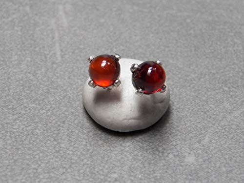 Hessonite Garnet Earrings - 5mm Hessonite Garnet Gemstones Prong set in Sterling Silver Post Earrings