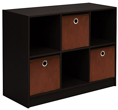 - Furinno 99940 EX/BR 3x2 Bookcase Storage with Bins, Espresso/Brown